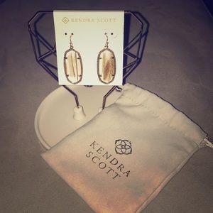 KS - Elle Drop Earrings in Gold Dusted Glass